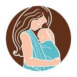 Vektor Babywearing runder Logo With Mother Hugging Baby in einem Riemen Einfache lineart Art stock abbildung