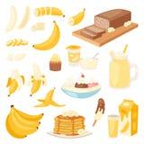 Vektor-Bananenprodukte der Banane panieren gesetzte Pfannkuchen- oder Banana split mit gelbem Cocktail und Frucht in der Schokola Lizenzfreie Stockfotografie