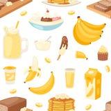 Vektor-Bananenprodukte der Banane panieren gesetzte Pfannkuchen- oder Banana split mit gelbem Cocktail und Frucht in der Schokola Stockbilder