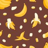Vektor-Bananenprodukte der Banane panieren gesetzte Pfannkuchen- oder Banana split mit gelbem nahtlosem Bananenillustration banan Lizenzfreies Stockbild