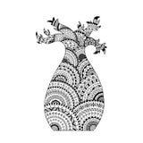 Vektor Baobabbaum Farbtonseitenbuch in zentangle Art Stockbilder