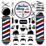 Vektor-Barber Shop-Zubehör eingestellt Mit Schattenbildern von Instrumenten, Pfosten, Frisuren Abbildung der roten Lilie Stockfotos