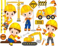 Vektor-Bau eingestellt mit netten kleinen Erbauern, Transport und Werkzeugen Vektor-kleine Jungen vektor abbildung