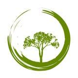 Vektor-Baum und Enso Zen Circle Illustration Lizenzfreie Stockfotos