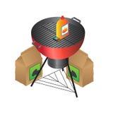 Vektor BBQ, flüssiges Feuer und Kohle Stockbild