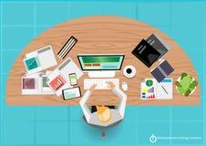 Vektor bearbeitet flaches Design des Schritttechnologie-Geschäfts Stockfoto