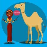 Vektor - beduinisches Frauengehen, ein Kamel führend Ebene überraschte die Geschäftsfrau, die oben seine Hand wirft Stockfotos