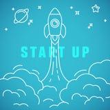 Vektor beginnen oben Konzept in der linearen Art Lizenzfreies Stockfoto