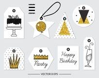 vektor Beståndsdelar för födelsedagen, parti som gifta sig Royaltyfria Bilder
