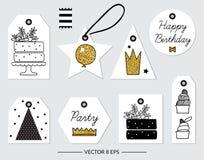 vektor Beståndsdelar för födelsedagen, parti som gifta sig Arkivbild