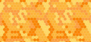 Vektor-Bienenwaben-Zusammenfassungs-nahtloses Muster, Orange und Gelb vektor abbildung