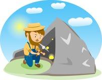 Vektor-Bild eines glücklichen Karikatur-Goldgräbers Lizenzfreie Stockbilder