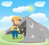 Vektor-Bild eines glücklichen Karikatur-Goldgräbers Stockfotografie