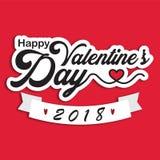 Vektor-Bild Valentine Day Happys 2018 Lizenzfreies Stockbild