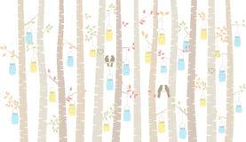 Vektor-Birke oder Aspen Trees mit dem Hängen von Mason Jars und von Wellensittichen Stockbilder
