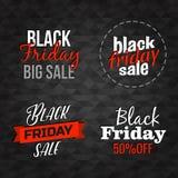 Vektor-Black Friday-Beschriftung unterzeichnet Sammlung Lizenzfreie Stockbilder