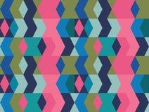 Vektor blau, grün, Rosa und Musterhintergrund der vertikalen geometrischen Formen der Knickente nahtloser stock abbildung