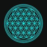 Vektor-blaue Blume der Leben-Symbol-Illustration Lizenzfreies Stockfoto