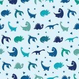 Vektor-blaue Dinosaurier-Schattenbild-nahtloses Muster Stockfotos