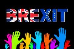 Vektor Brexit Text lokalisierte colorfull Hand Lizenzfreie Stockfotos