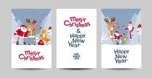 Vektor-Briefgestaltungs-Schablonensatz der frohen Weihnachten Lizenzfreie Stockfotos