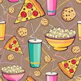 Vektor-Brown-Pyjamaparty-Lebensmittel-nahtloses Muster Stockfotografie