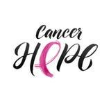 Vektor-Brustkrebs-Bewusstseins-Kalligraphie-Plakat-Design Anschlag-rosa Band Oktober ist Krebs-Bewusstseins-Monat Lizenzfreies Stockfoto