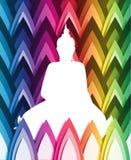 Vektor Buddha auf geometrischem Farbhintergrund Lizenzfreies Stockfoto