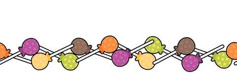 Vektor-bunte Halloween-Lutscher-Süßigkeits-nahtlose Grenze lizenzfreie stockbilder