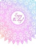 Vektor bunte zentangle Mandalafahne Wunsch, Glückwünsche, Postkarte Schablone für den Druck, Webdesign, Plakat Lizenzfreie Stockfotos