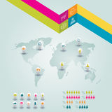 Vektor buntes infographic für Geschäftsdarstellungen Kann für Bericht, Darstellung, Fahne, Websitebroschüre oder Broschüre verwen Stockfotos