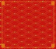 Vektor-chinesische Verzierung, Wellen-Formen, kreist Hintergrund, Rot-Goldfarben, Hintergrund mit Ecken ein lizenzfreie abbildung