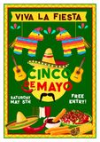 Vektor-Cinco de Mayo Mexican-Urlaubspartyflieger Lizenzfreie Stockbilder