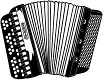Vektor Clipart för Accordian musikinstrumenttecknad film Fotografering för Bildbyråer