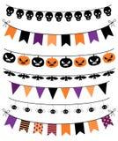 Vektor Colletion von Halloween-Fahnen, -flaggen und -girlanden stock abbildung