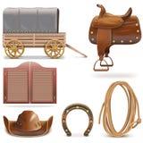 Vektor-Cowboy Icons Set 2 Stockfotografie