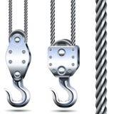 Vektor Crane Hooks och stålrep Arkivfoton
