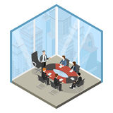 Vektor 3d för lägenhet för mitt för framstickandemöteaffär isometrisk vektor illustrationer