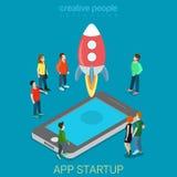 Vektor 3d för process för App startup mobil lanserande plan isometrisk Vektor Illustrationer
