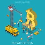 Vektor 3d för lägenhet för mynt för valuta för Bitcoin skapelseprocess isometrisk Arkivbild