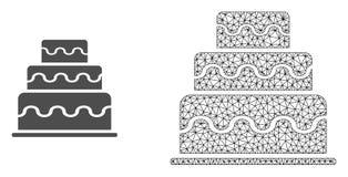 Vektor 2D Mesh Cake och plan symbol royaltyfri illustrationer