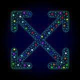 Vektor 2D Mesh Enlarge Arrows mit glühenden Stellen für neues Jahr lizenzfreie abbildung
