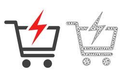 Vektor 2D Mesh Instant Shopping und flache Ikone stock abbildung