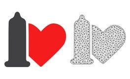 Vektor 2D Mesh Safe Love und flache Ikone lizenzfreie abbildung