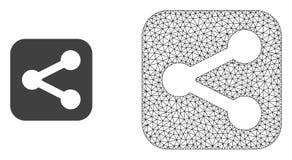 Vektor 2D Mesh Share und flache Ikone lizenzfreie abbildung
