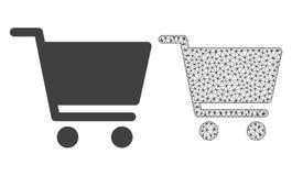 Vektor 2D Mesh Shopping Cart och plan symbol stock illustrationer