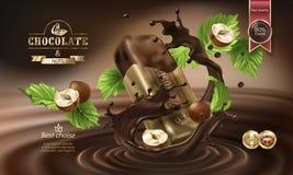 Vektor 3D spritzt von geschmolzener Schokolade und von Milch mit fallenden Stücken Schokoriegeln Stockbilder