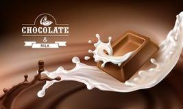Vektor 3D spritzt von geschmolzener Schokolade und von Milch mit fallenden Stücken Schokoriegeln Lizenzfreie Stockfotos