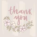 Vektor danken Ihnen, mit Blumenverzierungshintergrund zu kardieren Stockbilder