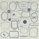 Vektor dekorativa Pen Drawing Borders, ramar, beståndsdelar Arkivbild